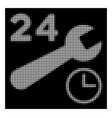 white halftone service hours icon vector image