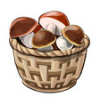 wicker basket with mushrooms vector image vector image