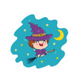 witch in kawaii style vector image vector image