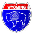 wyoming flag icons as interstate sign vector image vector image