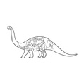 Dinosaurs with cut scheme on white background vector image
