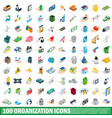 100 organization icons set isometric 3d style vector image vector image