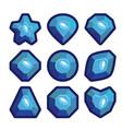 a set of dark blue emblems of precious stones vector image
