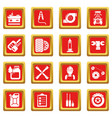 auto repair icons set red square vector image vector image
