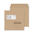 craft square envelope with window on white vector image vector image