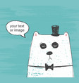 cute bear with hat and bow tie thinking about vector image