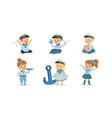 cute little kid characters wearing mariner uniform vector image vector image