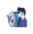 cyber security agent with safe box door vector image vector image