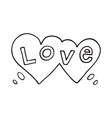 Double heart speech bubble with love word vector image