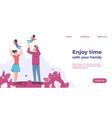 enjoy time with family landing page website vector image vector image