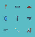 flat icons hairdresser blow-dryer looking-glass vector image vector image