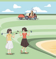 golf player women in the course vector image vector image