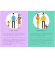 happy family mother father and son daughter poster vector image vector image