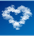 heart made clouds on blue sky vector image vector image