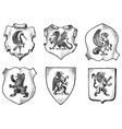 heraldry in vintage style engraved coat arms vector image vector image