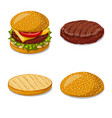 isolated object of burger and sandwich icon set vector image