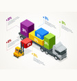 isometric logistic infographic template with right vector image vector image