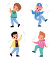 kids dancing children characters dance and sing vector image vector image