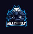 killer wolf e-sport mascot logo design vector image
