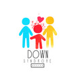original emblem with family child with down vector image vector image