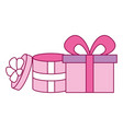 pink gift boxes vector image vector image