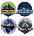 set mountain camping adventure logo vector image
