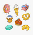 set of cute sweet desserts vector image