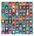 set people icons in flat style with faces 16 b vector image vector image