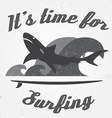 set vintage surfing graphics and emblem for web vector image