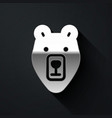 silver bear head icon isolated on black background vector image vector image