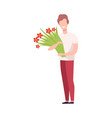 smiling young man holding bouquet flowers vector image vector image
