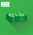 stacks of euro cash icon business concept dollar vector image vector image