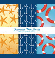 summer vacations set patterns backgrounds vector image vector image