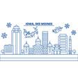 usa iowa des moines winter city skyline merry vector image vector image