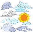 various clouds and sun vector image vector image