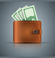wallet dollar money - realistic icon vector image vector image
