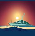 warship in middle ocean against vector image