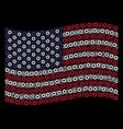 waving united states flag stylization of gear vector image
