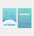 welcome to city aquarium card template ocean vector image vector image