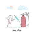 welder welding machine near vector image vector image