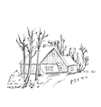 Winter background house in the snow landscape vector image vector image