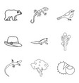 wood animal icons set outline style vector image vector image