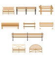 wooden one park bench isolated on white background vector image vector image