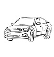 Monochrome hand drawn car on white background vector image