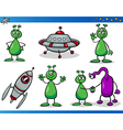 Aliens or Martians Cartoon Characters Set vector image vector image