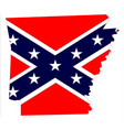 arkansas map and confederate flag vector image vector image