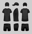 Black t-shirt cap and shorts template in three