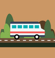 bus drives on the road on a nature background vector image vector image