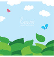 cartoon background of green leaves and blue sky vector image vector image