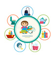 Cartoon girl with a set of objects for cleaning vector image vector image